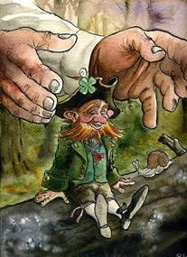 In a shady nook, one moonlit night, a leprechaun I spied with a ...